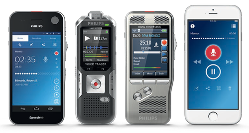 smartphones and Philips voice recorders